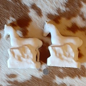 None Accents - Vintage Chalkware Horse Bookends